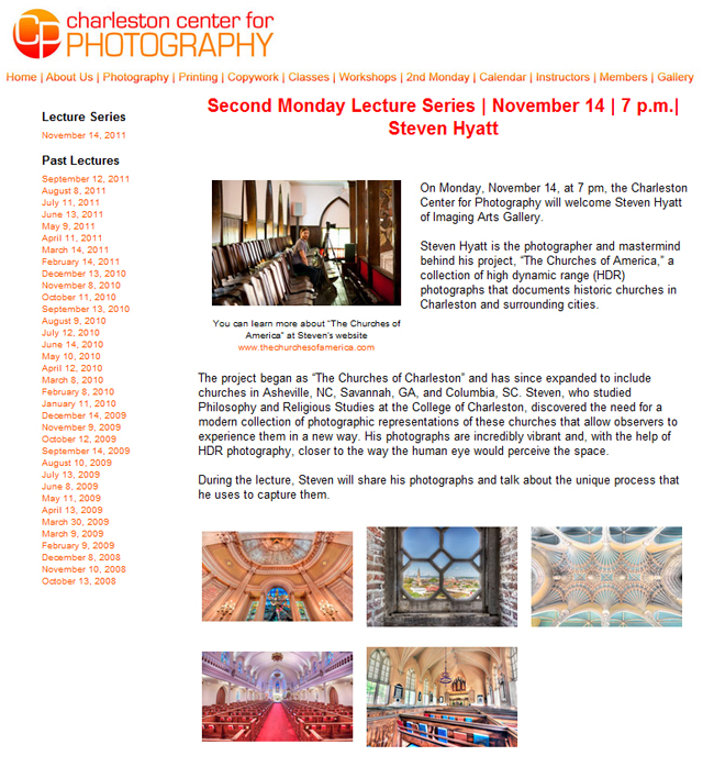 Charleston Center For Photography Lecture